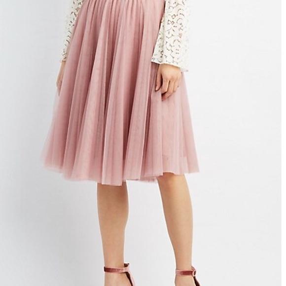 818e44af5e Charlotte Russe Skirts | Blush Pink Tulle Midi Skirt | Poshmark